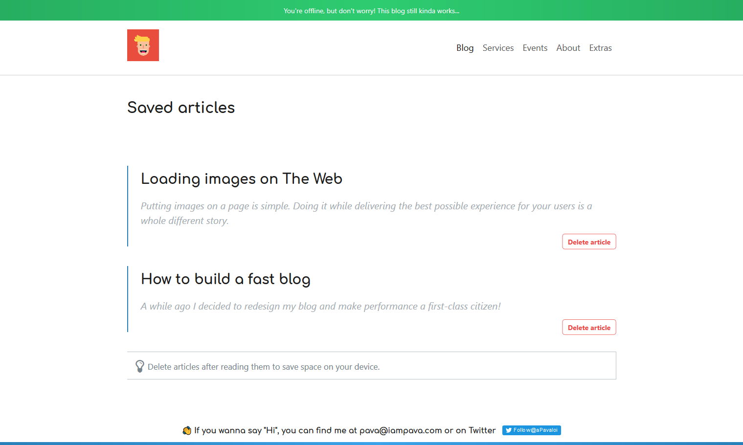 Screenshot of the saved-articles page